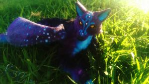 Handmade Poseable Midnight Wolf by KaypeaCreations
