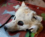 Golden wolf mask SOLD by lupagreenwolf