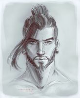 Hanzo sketch by SirensReverie