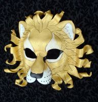 Gold Sun Lion Mask Two by merimask