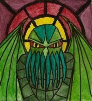 Stained glass Cthulhu by Coelophysis83