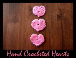 Hand Crocheted Hearts: 3 by CleverCrafts