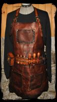steampunk leather apron by Lagueuse