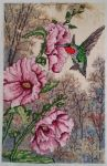 Hummingbird and Hollyhocks by SilentNarrator