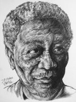 Morgan Freeman Pen Sketch  - FINISHED by inhibitus