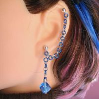 Blue and Silver Dice Earring by merigreenleaf