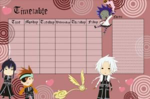 D.Gray Man timetable by NobodyTwice