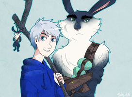 Jack Frost And Bunnymund 28 by saeru-bleuts