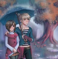 Under the rain, together by nyanyo