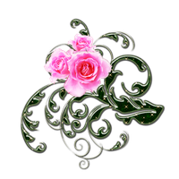 pink roses and green swirls png 1 by Melissa-tm