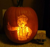 Fallout - vault boy pumpkin by ShiversTheNinja