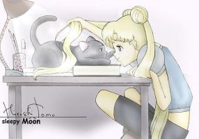 Sailor Moon. sleepy Moon. Luna. by Hiroshitomochan