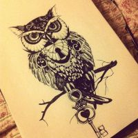 Owl Mysterious Drawing by Kaluha