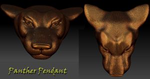 Panther Head Pendant (Front View) by Vargulfen