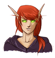 Blood elf warlock in colour by bylacey