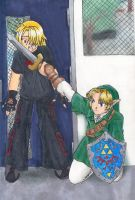 Link and - Sheik - by nashidesei