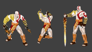 kratos lowpoly riged_posed by ahrimaneskarontex