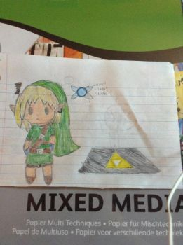 Link chibi, with navi and pedestal by Videogamefreak2012