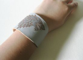 House Stark Game of Thrones Leather Cuff Bracelet by ange-etrange