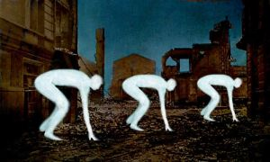White figures in a bombed city by derkert