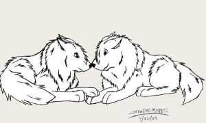 Wolves In Love Lineart by DrawingMaster1