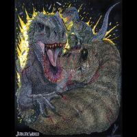 Clash of Queens. Indominus Rex vs Rexy and Blue by Arietteforce