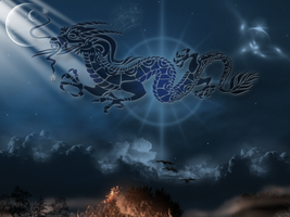 Dragon in the Sky Wallpaper by Fubelle