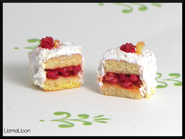 Polymer Clay Raspberry and Lemon Cake by Llama-Lloon
