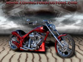 Big Red Custom Motorcycle by random667