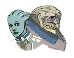 Liara and Garrus by AndouHayate