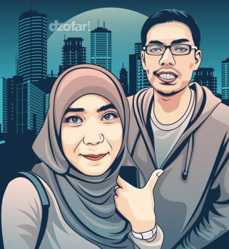 Couple in Turquoise Vector by ndop