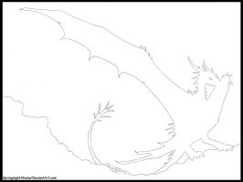 Springnight Shadow  -Wyvernoid LineArt Adoptable- by SpringnightAkuma