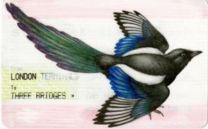 Train Ticket Magpie by Himmapaan