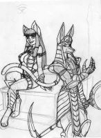 Anubis and Bastet by DaTroll