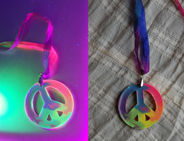 Rainbow Tie Dye UV Peace Necklace by OcularFracture