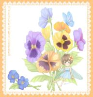 Fairy and Pansies by Hairei