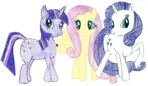 Twilight, Fluttershy, and Rarity by KonekoTsukino
