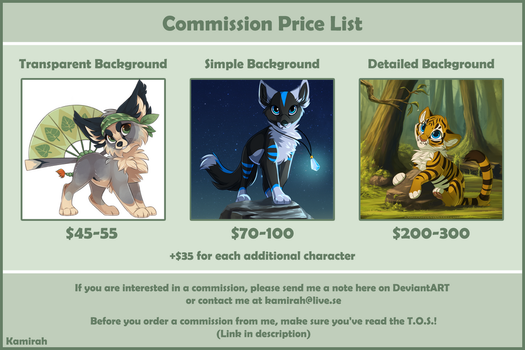 Commission Price List [OPEN] by Kamirah