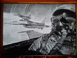 F-16 Pilot drawing by alainmi