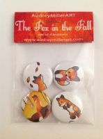 The Fox in the Fall Button 4 Pack by AudreyMillerArt