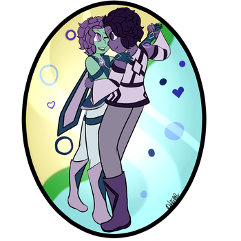 Fluorite and charoite Dancing by Dahlia-MB