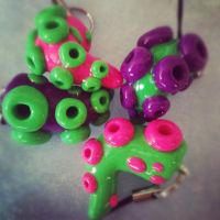 Tentacle neon green charms by KTOctopus