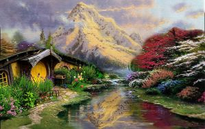 if Thomas Kinkade ever visited Middle Earth by Brandtk