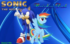 Sonic and Rainbow Dash - Wallpaper[Request] by Knuxy7789