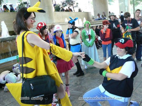OK08-Ash Proposes to Pikachu by moonymonster