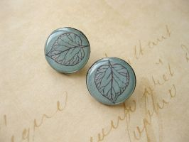 Frosted Leaves Ear Studs by SMAfactory