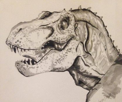 Inktober Day #6 Rex Close-up by Ginger-Ketchup