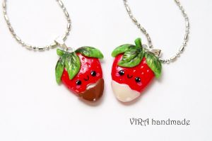 Kawaii Strawberries in Chocolate BF Necklaces by virahandmade