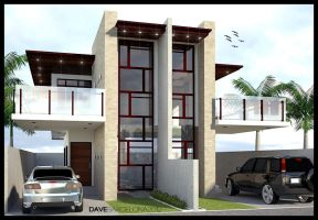 glass type duplex house by davens07