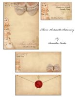 Marie Antoinette Stationary by BlackCarrionRose